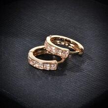 1Pair Stainless Steel Inline Crystal Earrings Hoop Studs Counple Brincos Earrings for Women Men Jewelry
