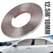 купить 12.5M Moulding Trim Strip Thickness 10mm Silver Chrome Decoration Strip Moulding Trim Car Styling Sticker дешево