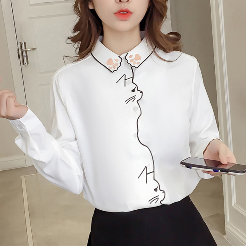 Down Cat Women   Blouses     Shirt   Embroidery Pattern White   Shirt   Female Women Tops Long Sleeve Office Girl   Shirt   Female Blusa 660H60