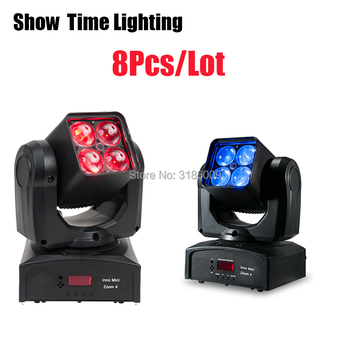 Powerful Beam&Wash 2IN1 Mini Dj Led zoom beam moving head lite 4pcs 10W RGBW 4 IN 1 Use For KTV DJ Party Disco Night Club Show can charge mini both head energy saving originality led to beam the lantern show meeting wireless move downlights lo463