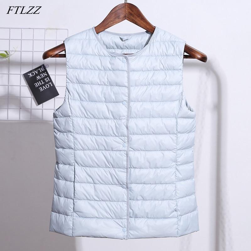 FTLZZ Winter 90% White Duck Down Vest Coat Women Single Breasted Thin Sleeveless Coat O-Neck or V-Neck Jacket