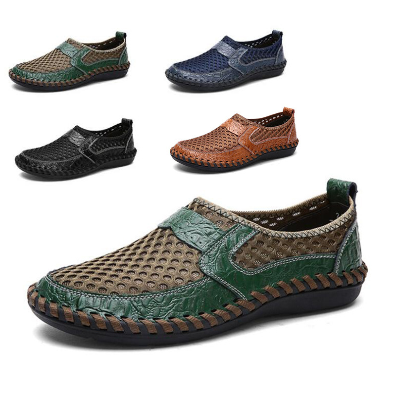2019 Newest Summer Men Shoes Casual Luxury Brand Genuine Leather Mens Loafers Moccasins Italian Breathable Slip On Boat Shoes