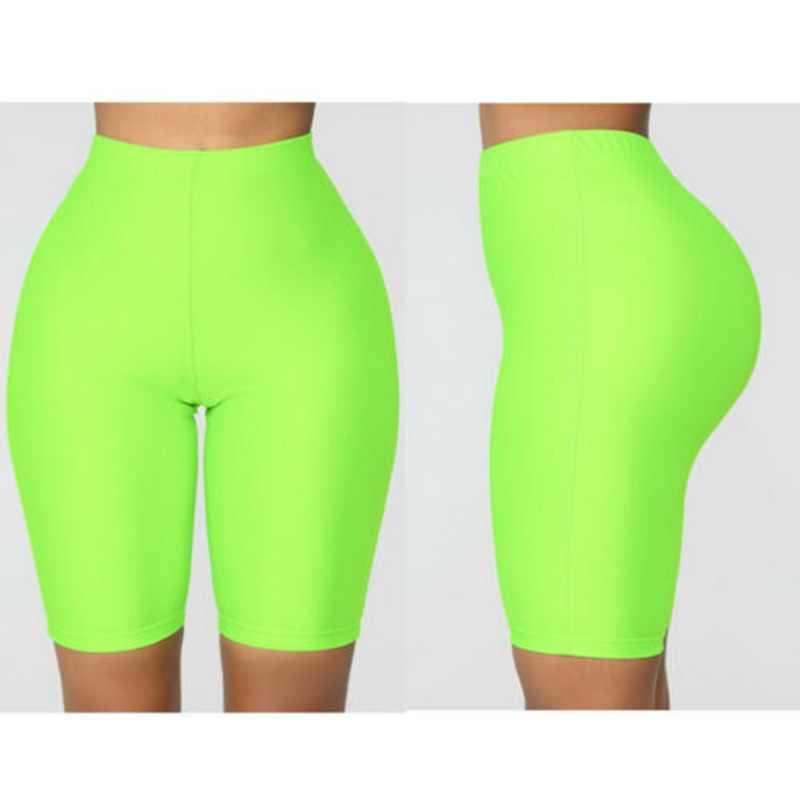 2019 kadınlar Push Up kısa tayt floresan renk rahat yaz yüksek bel diz boyu çalışma dışarı spor tayt kadın spor giyim