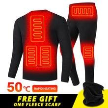 Winter Beheizt Unterwäsche USB Akku Betrieben Fleece Thermische Heizung Motorrad Jacke Moto Lange Unterhosen Hosen Elektrische Anzug Männer
