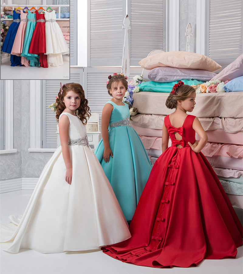 Flower Girls Dresses Ball Gown Square Girls Pageant Gowns Backless Floor-Length First Communion Wear