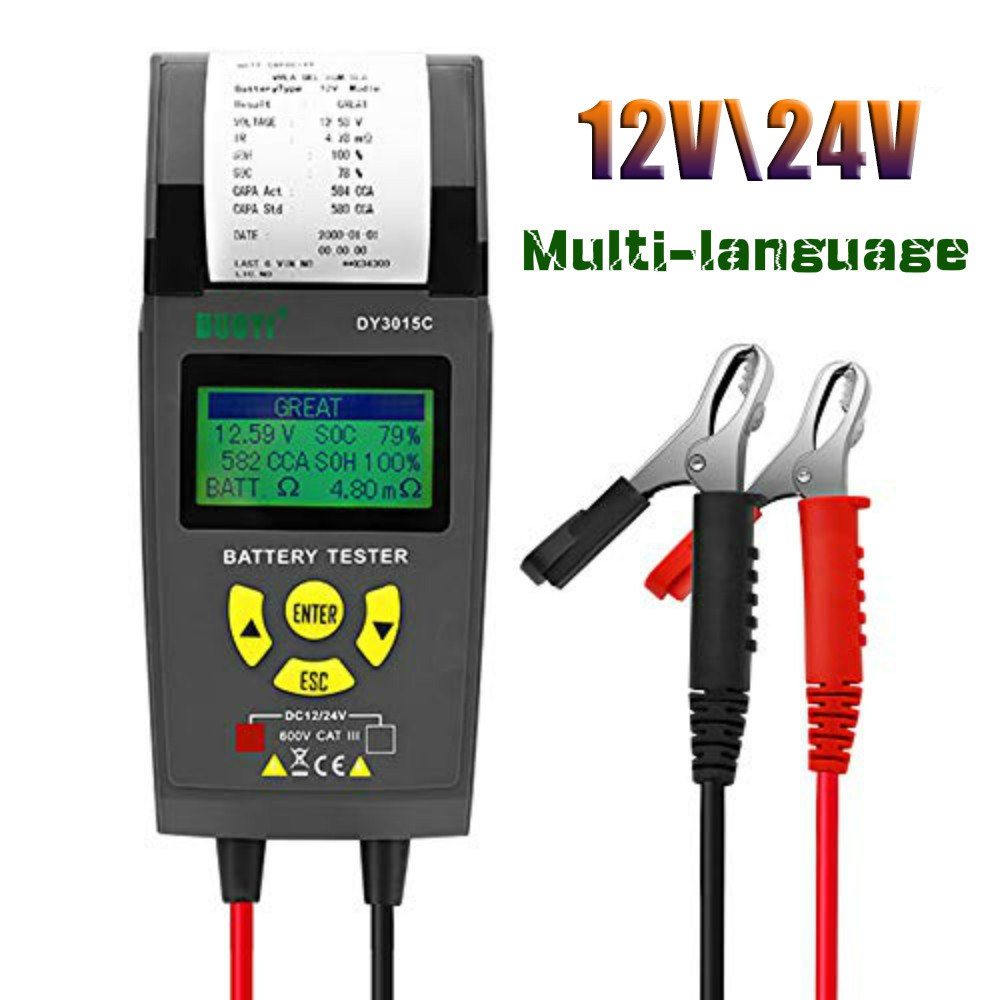 Car Battery Tester 12V/24V Car Battery Cranking and Charging Test System Analyzer Scan Tool with Printer for Trucks Cars