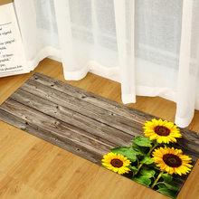 Wujie sunflowers padrão de madeira cozinha tapete retângulo dootmats anti-deslizamento esteira 100% poliéster porta tapete de entrada tapetes