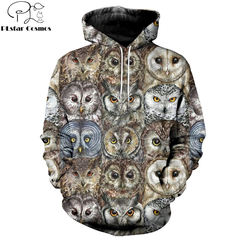 2019 New Vintage Fashion Mens Hoodie 3D All Over Printed Animal Owls Hoodies And Shorts Harajuku Streetwear Sudadera Hombre