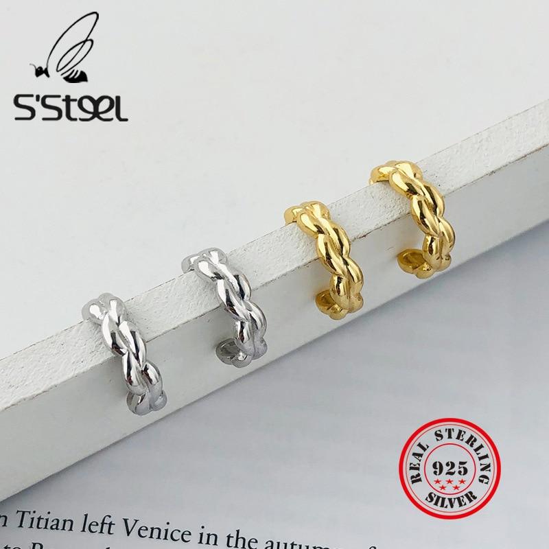 S'STEEL Geometric Earrings 2020 Sterling Silver 925 Stud Earring For Women Minimalist Gold Earings Pendientes De Mujer Jewelry