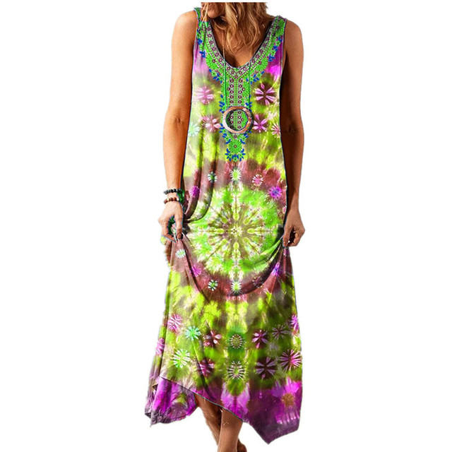 Summer Long Skirt New Ethnic Style Loose Printed Vest One-piece Long Skirt Fashionable Sexy Bohemian Dress 4