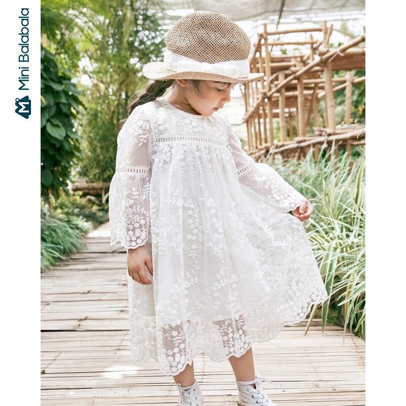 Girls Dress 2020 Spring New Lace Sweet Cute Baby Mesh Dress Princess Dress