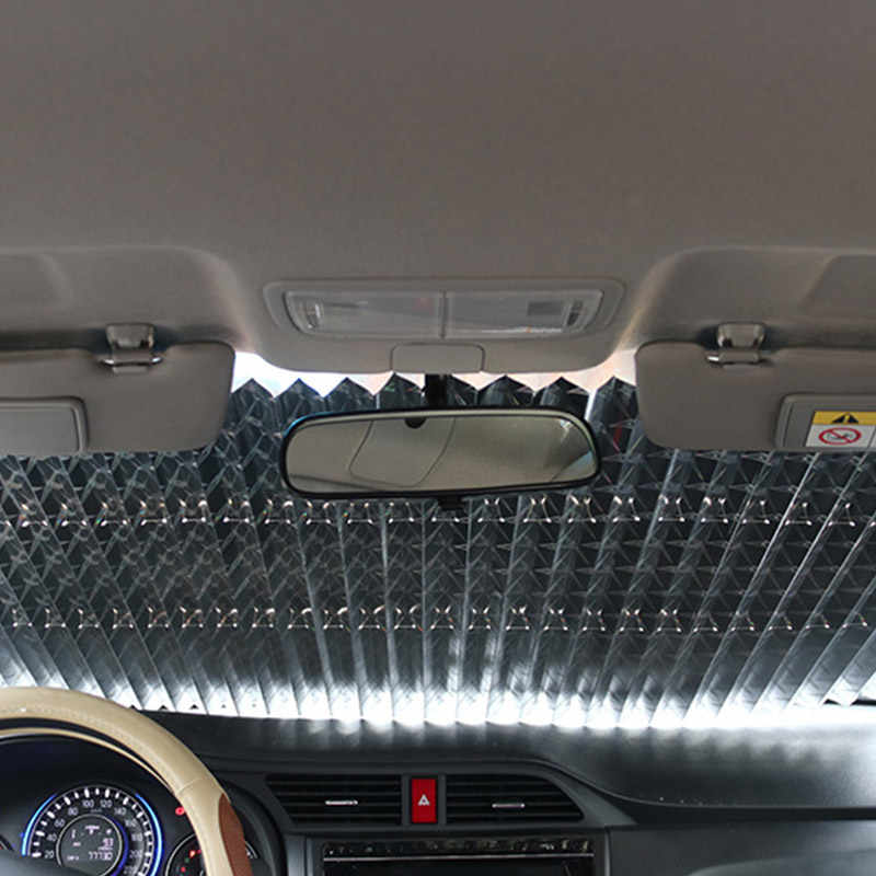 AGVER Parabrezza Parasole Block per Solar UV Protect Sun Visor Parasole Copertura Automatica A Scomparsa Anteriore Vetri Posteriore Foil Tenda ,Nero,46cm Nero