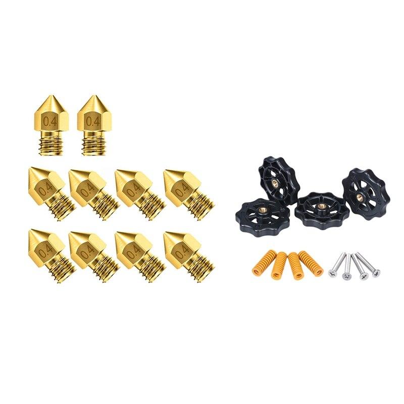 10 Pcs Cr-10 Nozzle, Upgrade Wear Resistant 0.4Mm Mk8 Nozzles, For 3D Printer Cr-10 & 12 Pcs 3D Printer Parts M4X40 Screws Auto