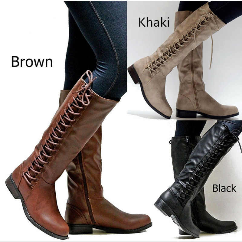 Rome Style Mid-calf Boots Women Winter Shoes Pu Leather Gothic Military Boots Women Winter 2019 Long Boots Lady Fashion Booties