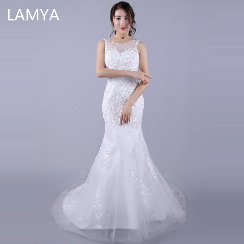 LAMYA Court Train dos nu dentelle sirène robes de mariée à la mode blanc bouton robes de mariée robe de grande taille Vestidos de Novia