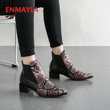 ENMAYLA 2019 Ankle Boots for Women PU Short Plush  Mixed Colors Pointed Toe Square Heels Chelsea Size 34-43