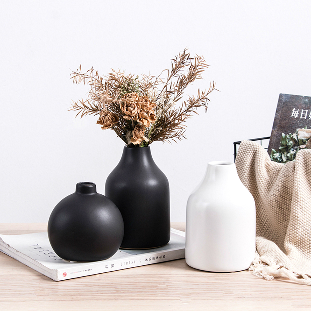 Nordic Style Ceramics Vases Hydroponics Plant Flower Home Decor for Artificial Flower Bouquet with Vase Wedding Table Decoration