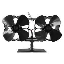 Black Dual Head 8 Blade Heat Powered Dual Motor Stove Fan Burning Stove Fireplace Fan Home Efficient Heat Distribution