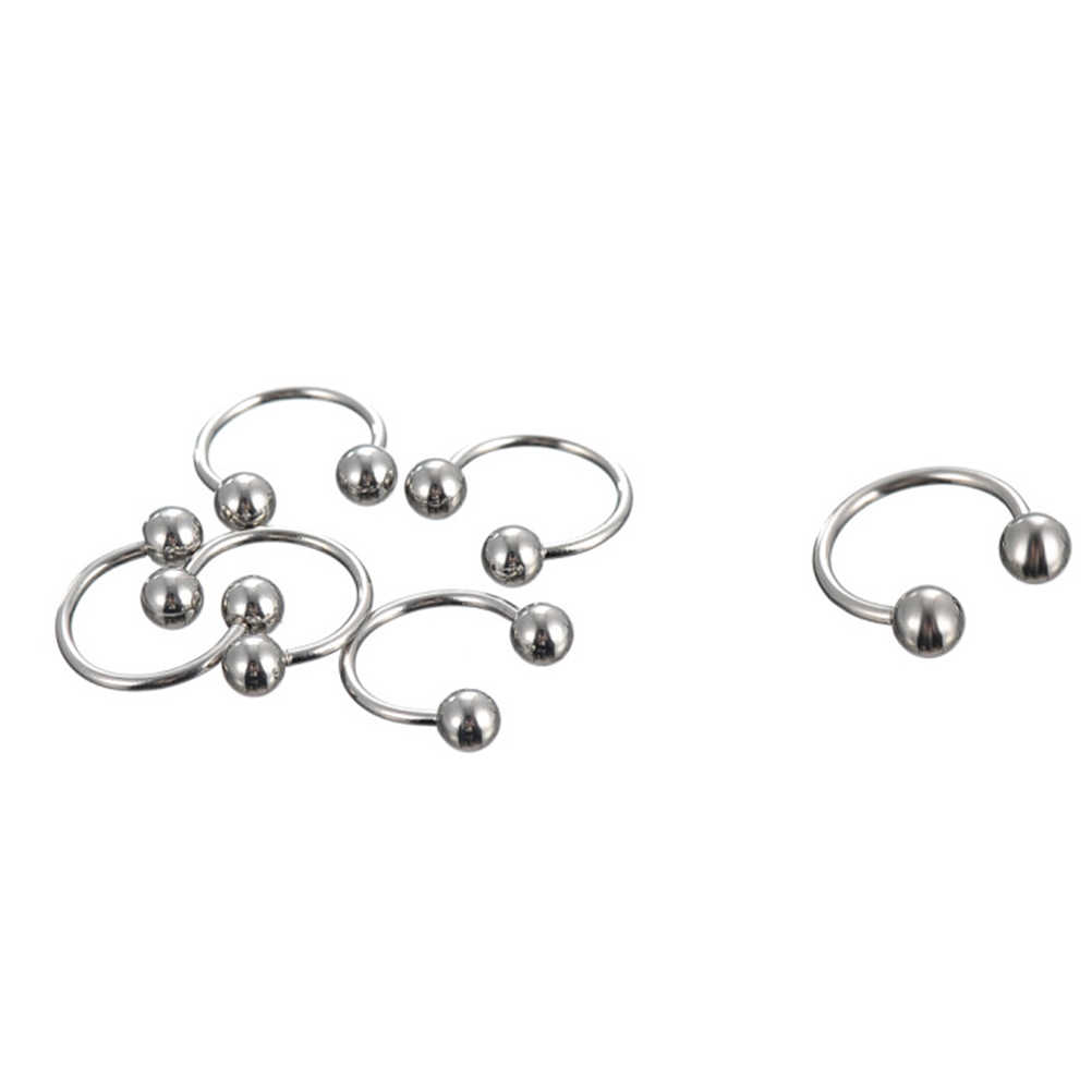 10Pcs Stainless Steel Curved Eyebrow Nose Lip Earrings Nipple Piercings Punk Unisex Body Piercing