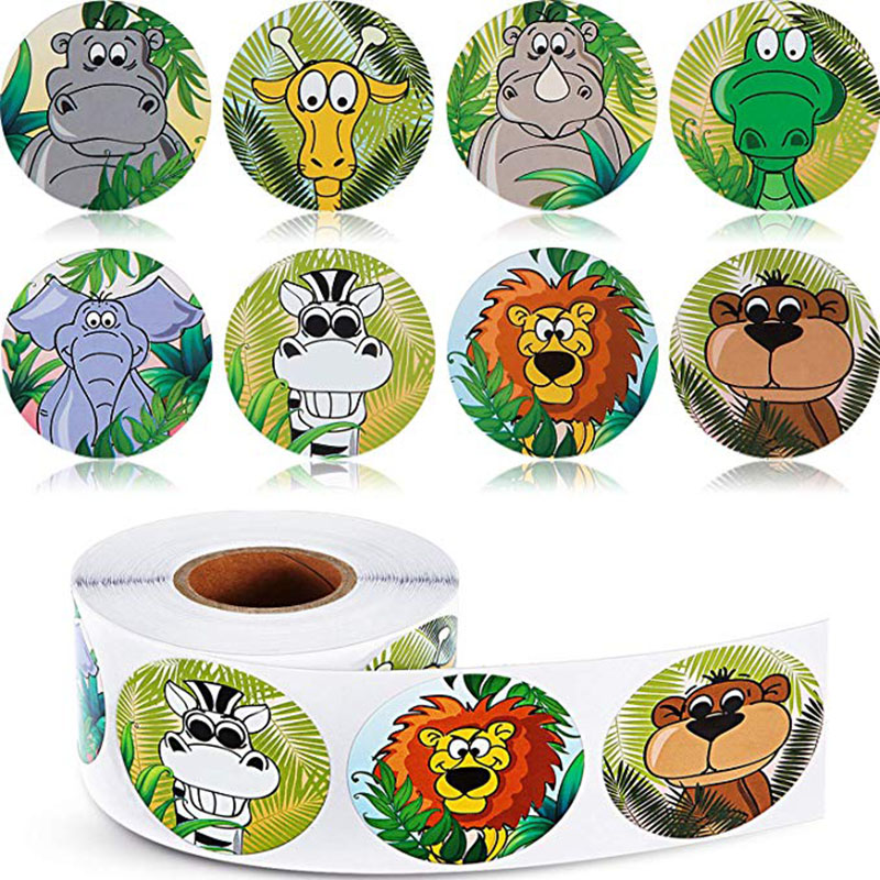 500pcs/roll Zoo Animals Cartoon Stickers For Kids Classic Toys Sticker School Teacher Reward Sticker 8 Designs Pattern