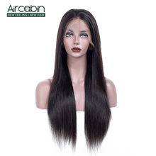 AirCabin Full Lace Human Hair Wigs Straight 12-24 Pre-Plucked With Baby Brazilian Remy