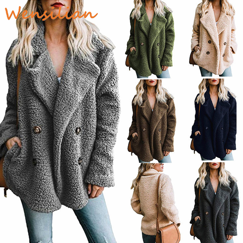 Teddy Fur Coat From Faux Fur Fluffy Overcoat Woman Winter Women's Jacket Plus Size Female Long Sleeve Chaqueta Mujer