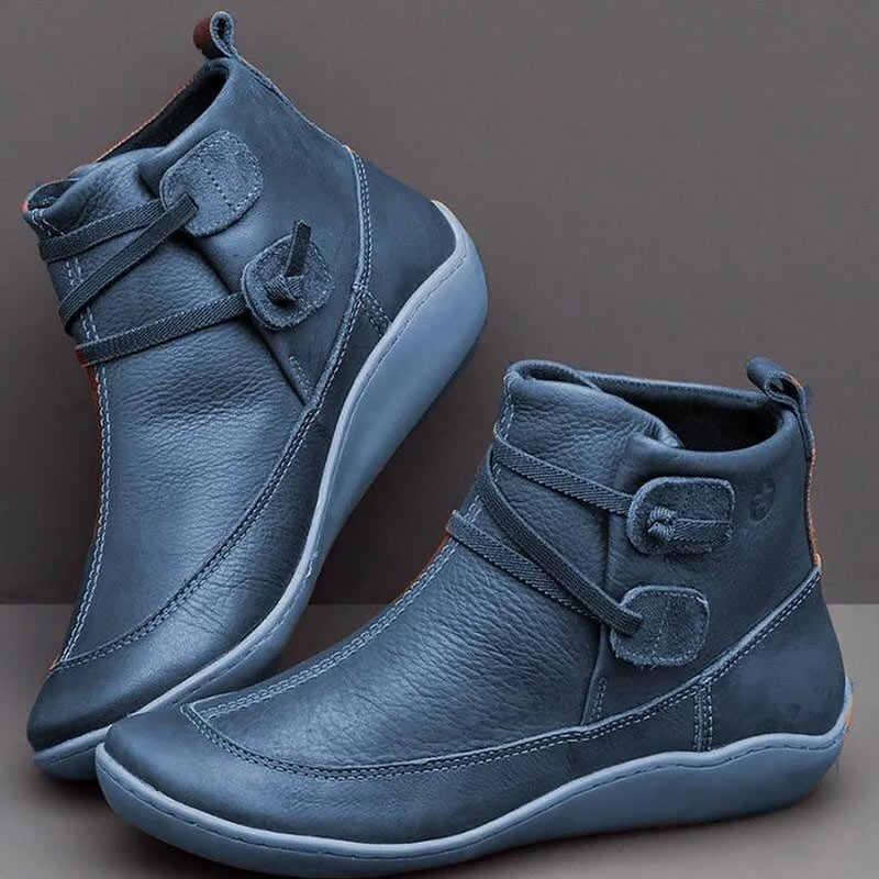Kadın botları 2019 yeni zip sonbahar kış vintage ayakkabı kadın botas mujer dantel-up çizmeler kadın ayakkabıları moda pu deri yarım çizmeler