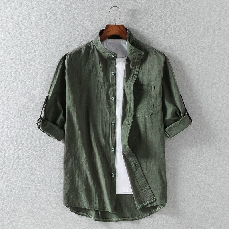 2020 New Men's Casual Blouse Cotton Shirt Loose Tops Spring Autumn Summer Handsome Men Shirt Short Sleeve Tee Shirt