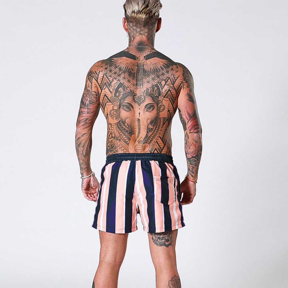 Accessoire de bain à rayures pour hommes, à séchage rapide, sous-vêtements de plage avec Short, planche respirante, planche de Surf, à la mode