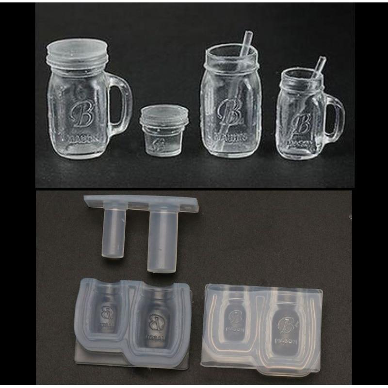 Epoxy Mold Honey Jar Bottle Pendant UV Resin Casting Mold Miniture Food Play Silicone Mold Jewelry Making