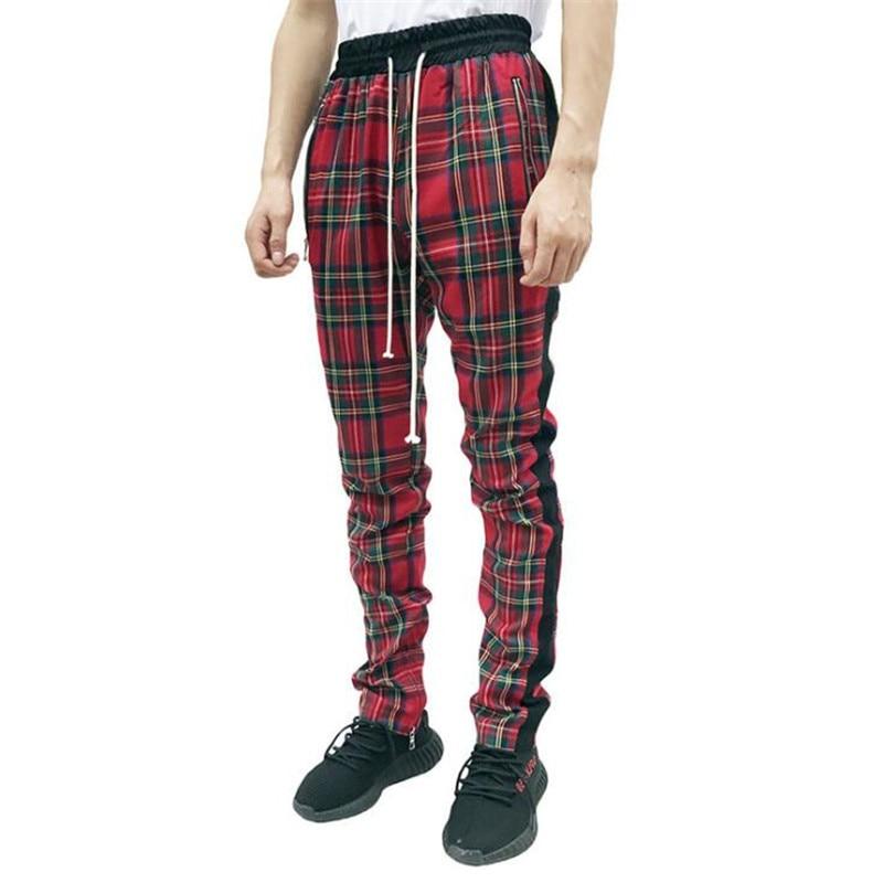 Scottish Plaid Joggers Pants Men 2019 Justin Bieber Vintage Mens Checkered Sweat Pants Hip-hop Ankle Zip Lattice Track Pants