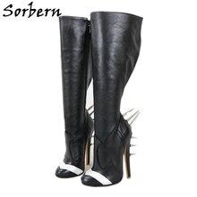 Sorbern Klinknagel Hakken Knie Hoge Laarzen Vrouwen Lederen Hoge Hak Stiletto Schattige Ronde Neus Custom Wide Slim Fit Lady laarzen