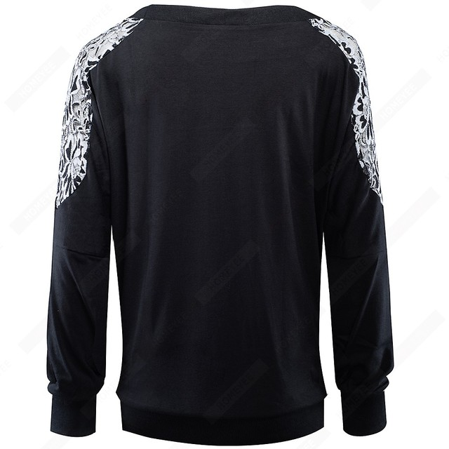 Stylish Floral Embroidery Loose Casual Autumn O-Neck Long Sleeve Brief  Women Tops E253 3