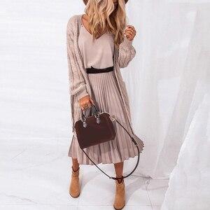Женское платье с v-образным вырезом BORRUICE, розовое плиссированное платье средней длины, Повседневные Вечерние платья для офиса, лето 2020