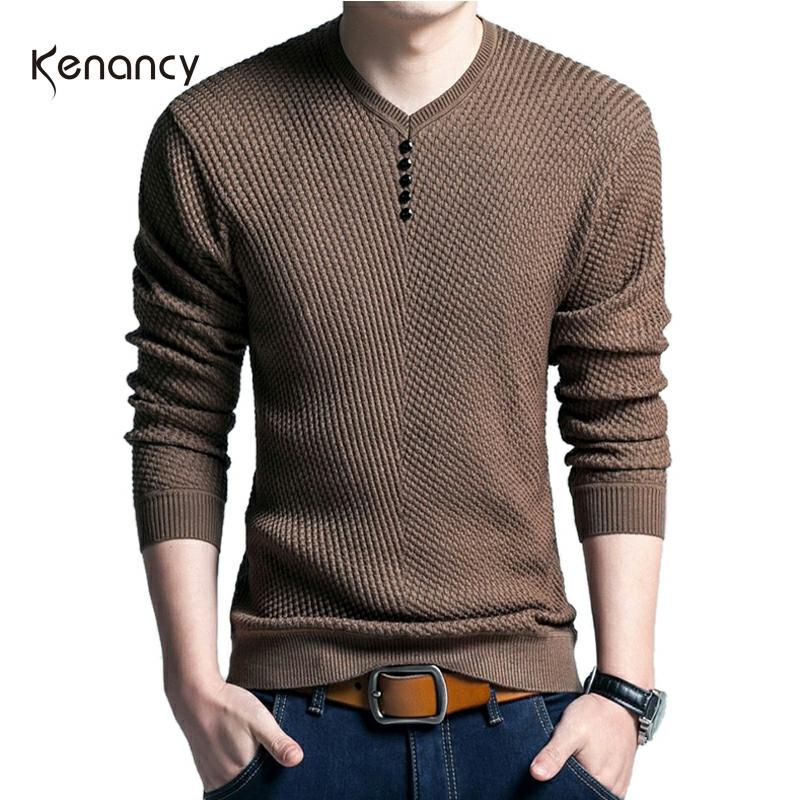 Hemiks Men Casual V-Neck Pullover Slim Fit Long Sleeve Shirt Sweaters Knitted Cashmere Wool Pull Homme