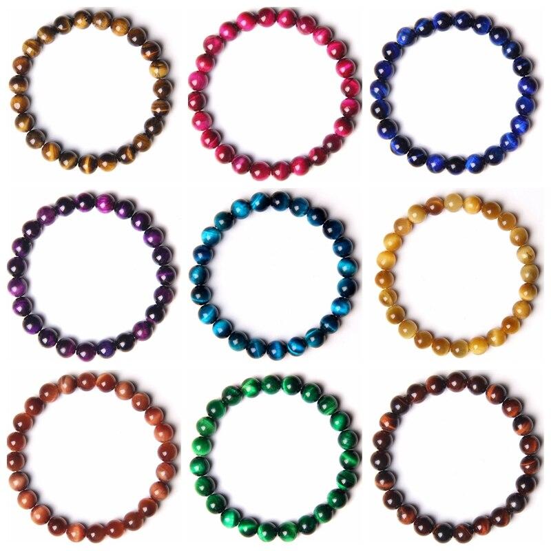 Natürliche 8MM Runde Blau gelb grün rot Tiger eye perlen armband für Männer frauen homme dame glück tapferen Elastische armband schmuck