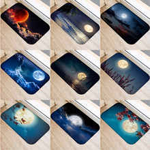 40x60cm Cute Diy Print Floor Mat Bathroom Ground Mat Slip Door Bath Pad Rug Living Room Carpet Beach Moon Night