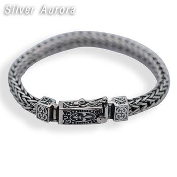 2019 Best Friend Bracelet 100% Real 925 Sterling Silver Jewelry For Men Women Vintage Lucky Weave Rope Chain Bracelet Bangle