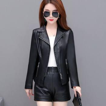 2020 Autumn New Leather Jacket Women Short Pu Small Spring And Motorcycle Version Slim Fashion Trend