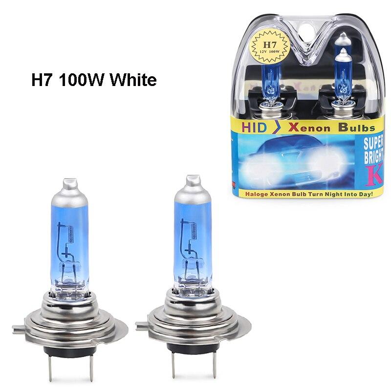 2 uds. 12V H7 halógeno 6000k blanco 100w faros H7 100W bombilla halógena antiniebla bombillas de fuente de luz para el coche faros de la lámpara de estacionamiento
