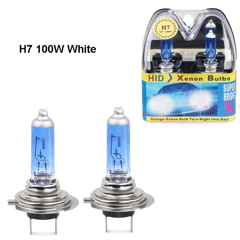 2PCS 12V <font><b>H7</b></font> <font><b>halogen</b></font> 6000k <font><b>white</b></font> 100w headlights <font><b>H7</b></font> 100W fog <font><b>halogen</b></font> bulb car Light Source Bulbs Headlights Auto Lamp Parking image