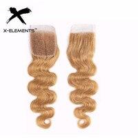 X-Elements волосы бразильские волнистые 4*4 Кружева Закрытие Remy T1B 27/бордовый/99J бесплатно/средний/три части 100% человеческие волосы закрытие