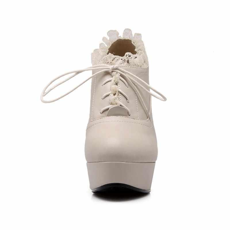 Mais tamanho 43 mulheres sexy plataforma de renda sapatos de salto alto rendas até festa casamento bombas 2020 nova moda primavera dedo do pé redondo saltos finos