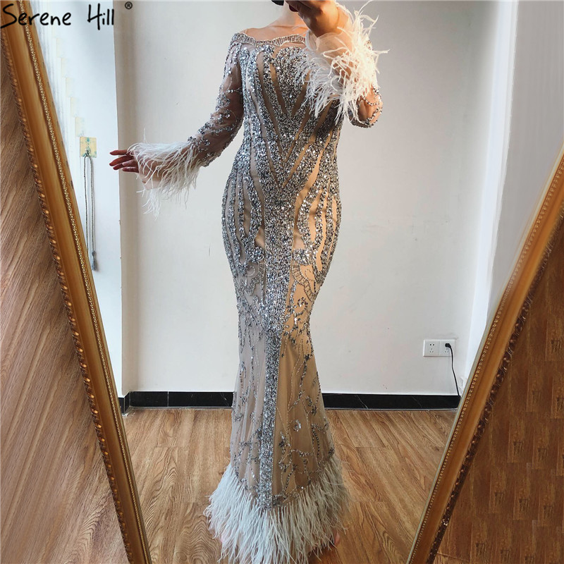 Dubai Luxury Grey Nude Mermaid Evening Dresses Long Sleeve Feathers Sequined Evening Gowns 2019 Serene Hill LA60932