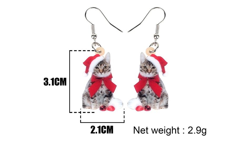 Acrylic Christmas Santa Cat Kitten Dangle Earrings