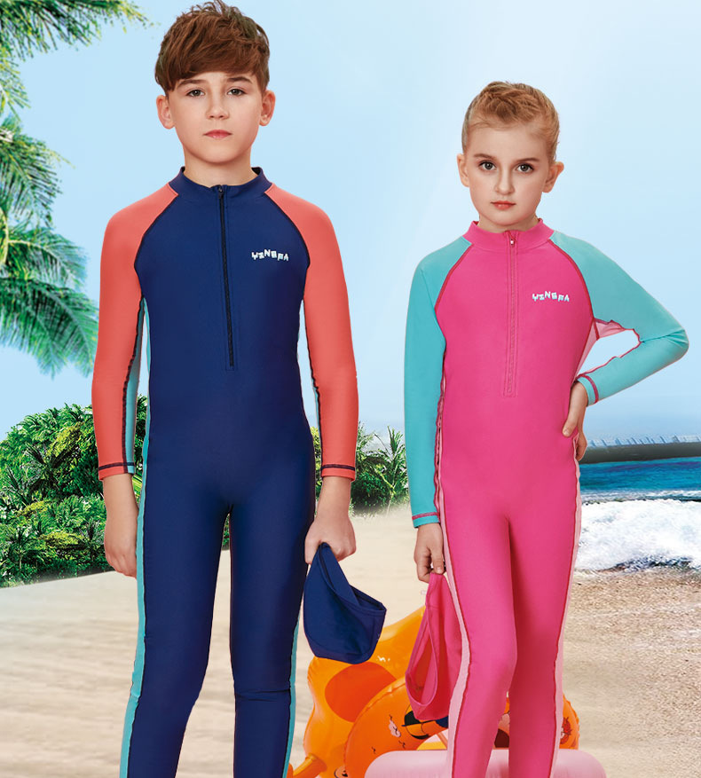 Yingfa One-piece Swimsuit For Children Long Sleeve Big Boy Female Conservative Students BOY'S Split Type Quick-Dry Sun-resistant