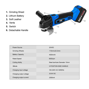 Image 2 - Cordless Angle Grinder 20V Lithium Ion 4000mAh Battery Machine Cutting Electric Angle Grinder Power Tool By PROSTORMER