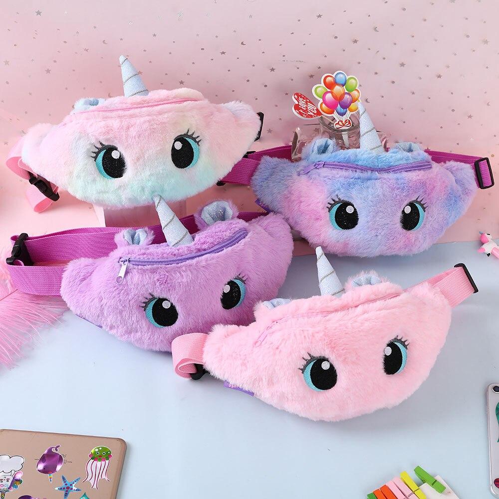 Riñonera de unicornio para niños y niñas, bolso de pecho con cinturón de felpa de Color degradado, monedero de dibujos animados, bolsa de pecho de viaje|Peluches y muñecos de peluche|   -