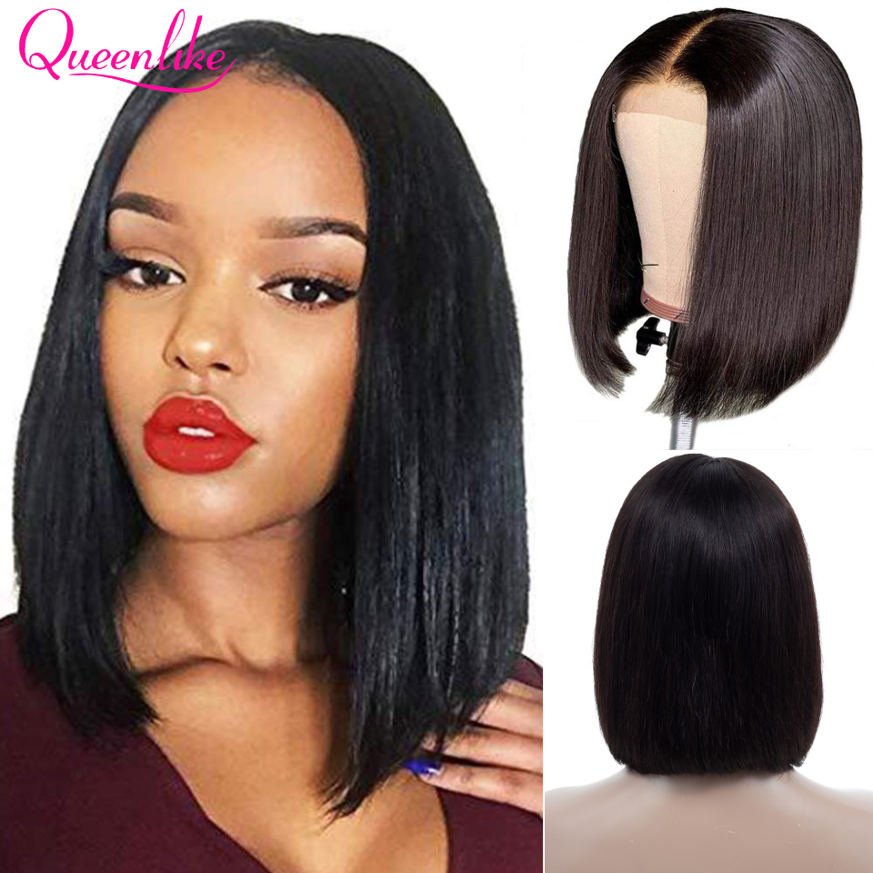 Queenlike Lace Front Bob Wig With Pre Plucked Hairline Brazilian Remy Hair For Black Women Short Lace Front Human Hair Wigs