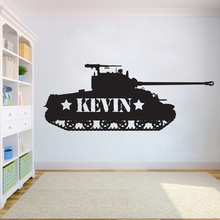 Personalized Kids Tank wall decor Military Wall decals Custom name stickers for Nursery Bedroom Boy Teenager Room decor HY747 vinyl wall sticker for kids boy teenager room wall decor excavator wall decals nursery bedroom stickers home decoration hy740